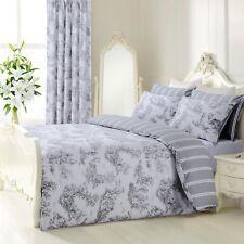 Reversible Blue Grey Modern Duvet Quilt Cover Bedding Set Single Double King