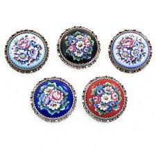 Broche Bijou émaillé émaux FINIFT dessin fleur floral peint main Brooch enamel
