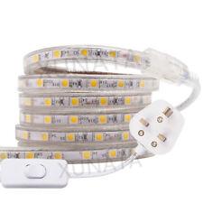 LED Strip 220V 240V IP68 5050 SMD Rope Garden Decking Kitchen Lights + UK switch