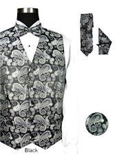 Men's Vest Set   100% Polyester Jacqnard Vest W/Bow Tie , Tie and Hanky  V003