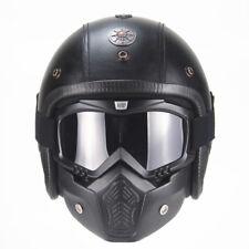 2019 PU Leather s Vintage Helmets 3/4 Motorcycle Chopper Biker Half Helmet