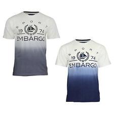 Men's Embargo Summer 100% Cotton Crew Neck Printed Fading Colour T-Shirt Tops