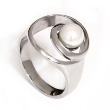 Edelstahl Ring Perlen Süßwasserperle weiß SWP Damen Kreise Bandring Neuer