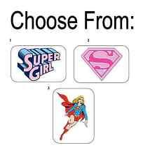 """50 Supergirl / Super Girl Envelope Seals / Labels / Stickers, 1"""" x 1.5"""""""