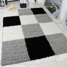 Large Black White Shaggy Rug Long Pile White Checkered Carpet Modern Quality Mat