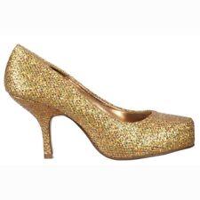 basse da donna GATTINO Tacco Scarpe Tennis Oro Glitter festa UK3 - UK8