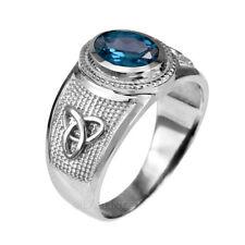 Sterling Silver Celtic Trinity Topaz Blue CZ December Birthstone Ring