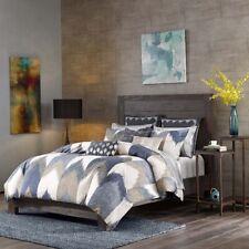 Posh 3pc Navy Blue & Taupe Chevron 200TC Cotton Comforter AND Deco Shams