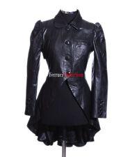 Mystique Black Ladies Gothic Style Fashion Lambskin Designer Leather Flare Coat