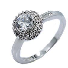 18K White Gold Plated Round Halo CZ Wedding Band Ring