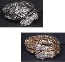 XL Armband Armreif Schlange Metall Kristall Strass Breit 25 mm 2 Reihe