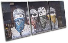 Graffiti Pop Beatles Banksy Street TREBLE CANVAS WALL ART Picture Print VA