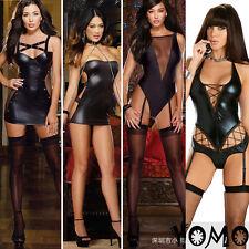 Sexy Imit Latex Faux Leather Fetish Gothic Kinky Bondage Tight skirt Lingerie AA