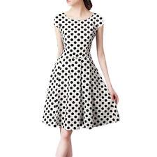 Women Plus Size Polka Dot Printed Swing Dress Casual Pleated A Line Mini Dresses