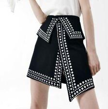 Nightclub Women Asymmetric Rivet Beaded Skirts Punk Rock Singer High Waist Skirt