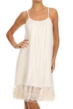 NWT Cream Camisole Long Tank Slip Top Dress Extender Lace Trim Layering Vintage