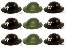WW2 papà MILITARE SOLDATO verde o nero Air Raid Warden ELMETTI cappelli LOTTO
