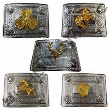 Scottish Kilt Belt Buckles Celtic Design with Different GOLD BADGES Chrome End