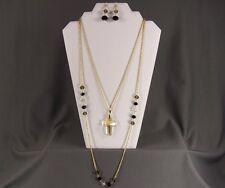 "Gold tone crystal cross 33"" long chain double necklace pendant bead earrings set"