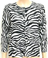 CABLE & GAUGE Ladies CARDIGAN Animal Print ZEBRA 3/4 Sleeve White Black : Medium