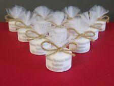 Christening Baptism Personalised Vintage Rustic Tealight Candle Favours Set 10