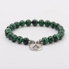 Women Men Chakra Mala OM Lotus Buddha Bracelets Malachite Stone Strand Bracelets
