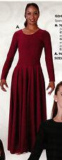 NWT Wine Long Sleeve Spandex Crepe Full circle Praise Dress Girls frontlined