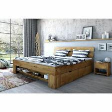 Futonbett Schlafzimmerbett - DANA - Wildeiche Massiv geölt Bett 4 x Bettkasten