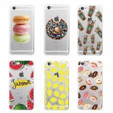 Nourriture Motif donuts macarons citrons fruits TPU Gel Coque Arrière Pour iPhone 8 7 6 S 6