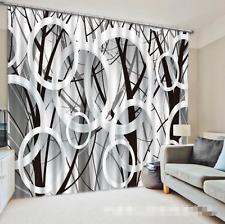 3D Circle Grid Blockout Photo Curtain Printing Curtains Drapes Fabric Window AU
