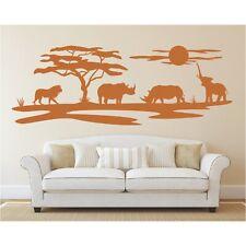 Landschaft Wandtattoo  Elefanten Afrika Sonne Savanne Löwe Safari Wandaufkleber
