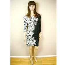 Hot Fashion Stupendo Donna Black & White Rose Maniche Lunghe Abito al ginocchio