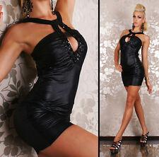 NEW SEXY WET LOOK HALTER NECK MINI DRESS JEWEL 8-10 PARTY/CLUB/EVENING/COCKTAIL
