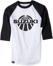 Factory Effex Licensed Suzuki Vintage Baseball Shirt White/Black Mens All Sizes