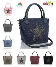 New Women's Ladies Girls Stylish Diamante Canvas Shoulder Bag With Glitter Star