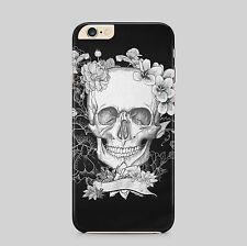 Black Flower Skull Hard Back Phone Case for IPhone HTC Samsung Sony LG Huawei