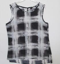 Womens shirt sleeveless XS Medium Large XL XXL NEW black white dressy cotton