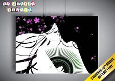 Poster Geisha asian Purple 02 Wall Art