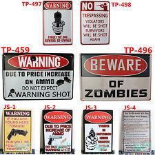 WARNING GUN SHOT Metal Tin Sign Man Cave Rifle Pistol Hunting Cabin Bar decor