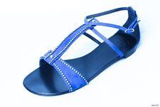 new $695 Giuseppe ZANOTTI blue suede JEWELED T-strap sandal flats shoes fabulous