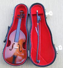 SCALA 1:12th in legno Double Bass & Custodia Nera Casa delle Bambole Miniatura Strumento