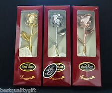 NEW LIVING GOLD SILVER PLATINUM+GOLD METALLIC NATURAL REAL ROSE FLOWER,NAIS