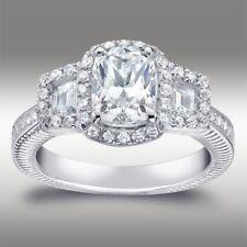 2.60ct Three Stone Cushion Lab Diamond Halo Engagement Ring Solid 14K White Gold