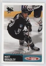 2002-03 Topps Total #117 Matt Bradley San Jose Sharks Rookie Hockey Card