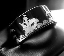 Mens Tungsten Ring, Pirate Ship Pattern Engraved Black Tungsten Carbide Ring