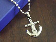 "Stainless Steel 21"" Ball Chain Necklace & Mariner Anchor Pendant Biker Set"