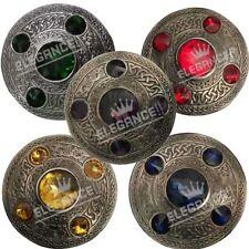 "Scottish Antique Celtic Kilt Fly Plaid Brooch 5 Stone 4"" Kilt Brooches/kilt pins"
