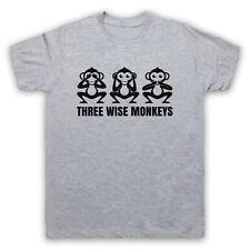 THREE WISE MONKEYS FABLE TALE SEE HEAR SPEAK NO EVIL MENS WOMENS KIDS T-SHIRT