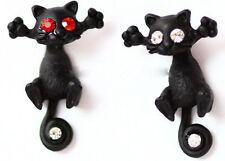 Ladies Girls Trendy Cool 3D Animal Cat Metal Stud Earrings Jewellery 10 Colours