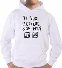 Felpa Con Cappuccio KJ2014 Ti Vuoi Mettere Con Me? SI NO Frase No Sense Happines